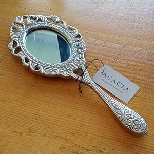 Silver tone hand held mirror new